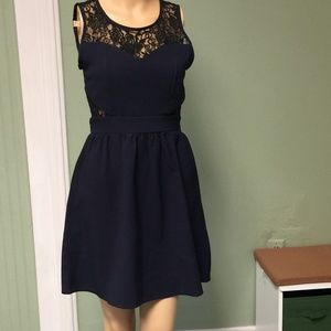 Dresses & Skirts - Blue and black lace dress in size small